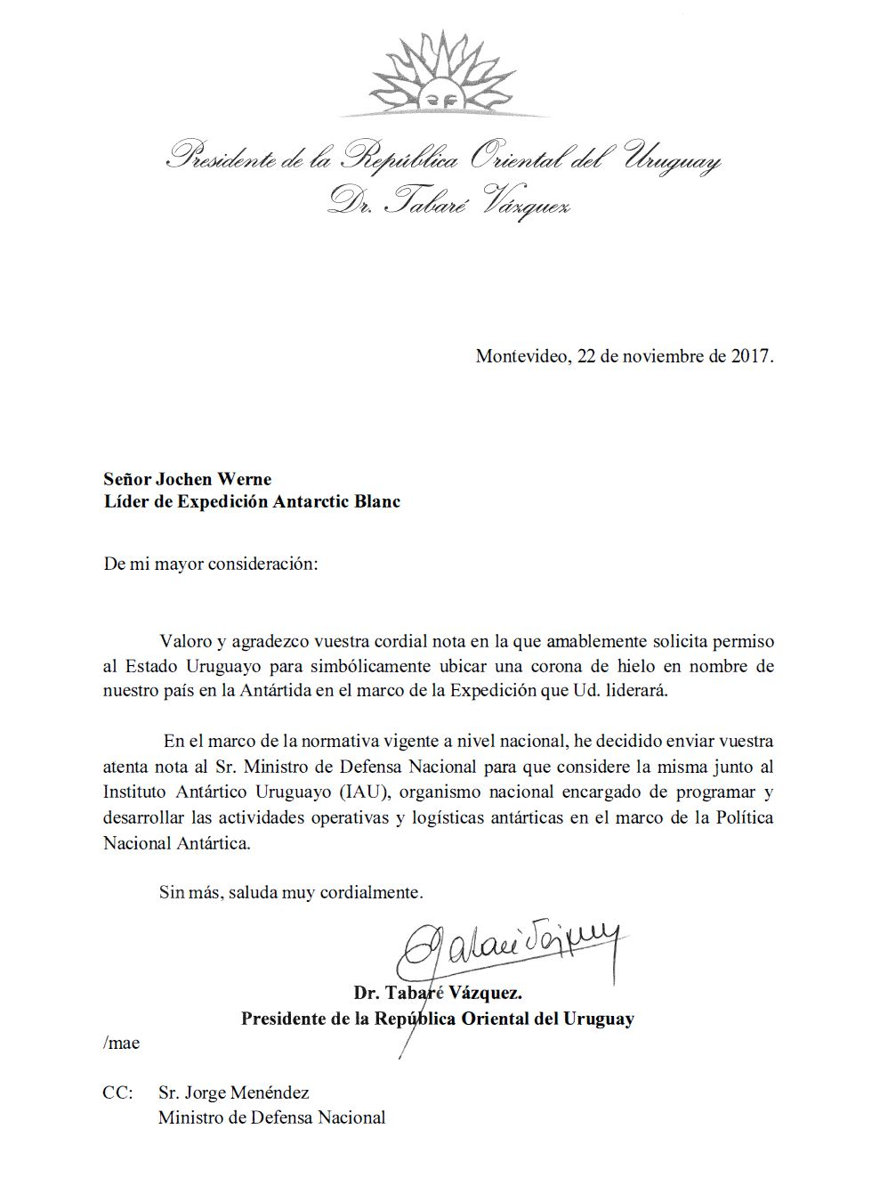 uruguay a personal letter from president vázquez expedition